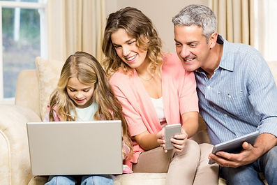 Family using forms of technology