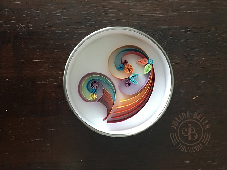 JJBLN | Magnetic Round Mini Quilled Paper Art: Heart Quilling