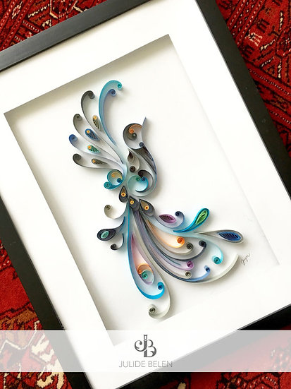 JJBLN Framed Quilled Paper Art: Free As A Bird Quilling Wall Decor Artwork