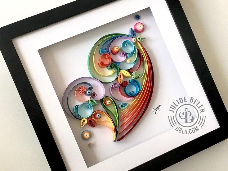 JJBLN Framed Quilled Paper Art: Heart Quilling Wall Decor Artwork
