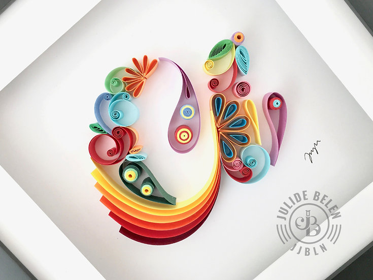 JJBLN Framed Quilled Paper Art: Lowercase A - Quilling Wall Decor Artwork
