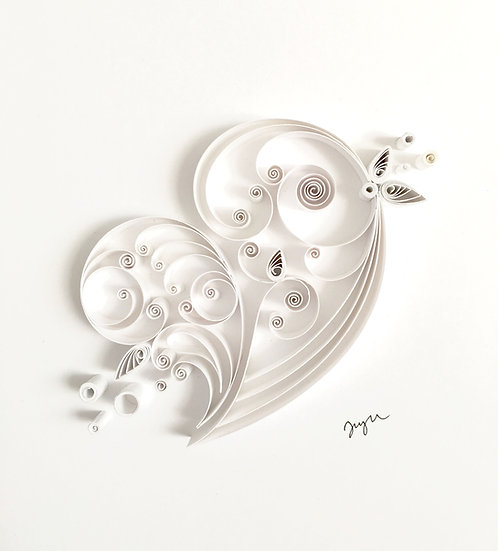 Quilled White Paper Heart