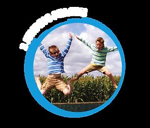 2 boys jumping pillow