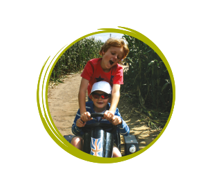 boys on pedal go kart