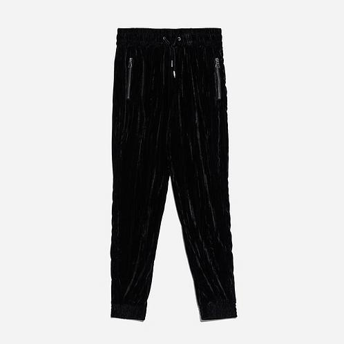 Zara Black Velvet Jogging Trousers XS