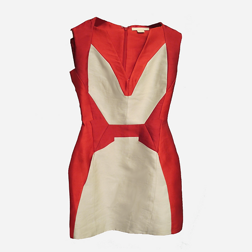 Antonio Beradi Beige and Red Panelled Mini Dress S