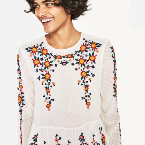 Zara White Embroidered Blouse S