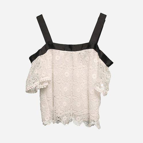 Topshop White Lace Cold-Shoulder Blouse XS