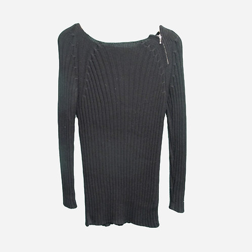 Episode Sport Black Knitted Ribbed Wool Dress M