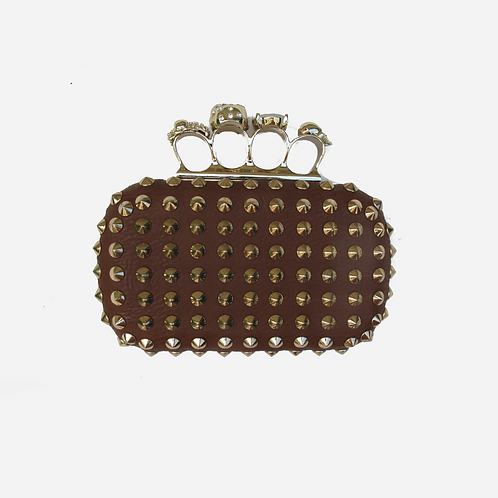 Paris Baboune Studded Tan Clutch