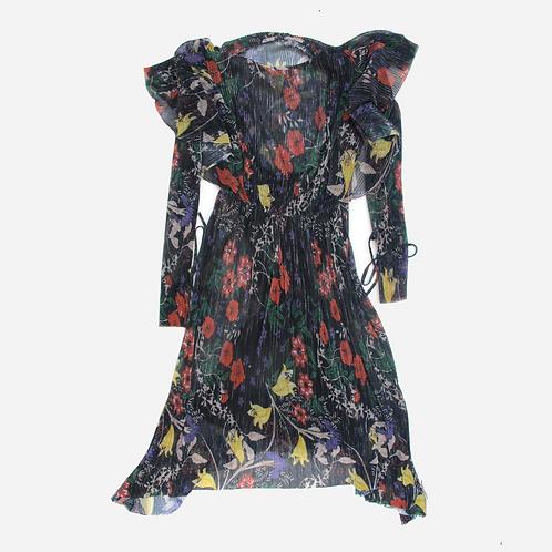 Zara Navy Sheer Floral Dress S