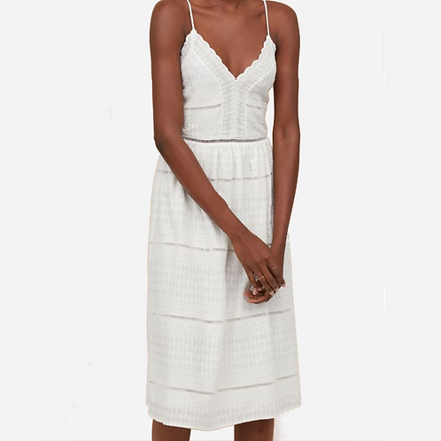 H&M White Cotton Embroidered Dress M