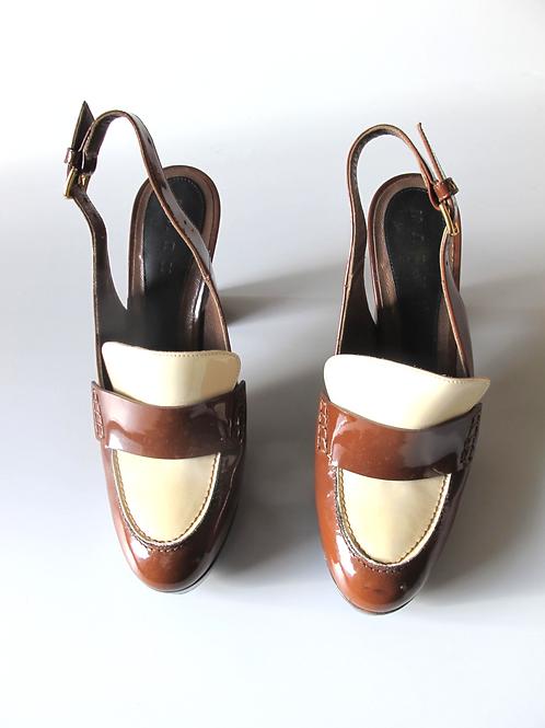 Marni Brown & CreamPatent Shoes UK 6