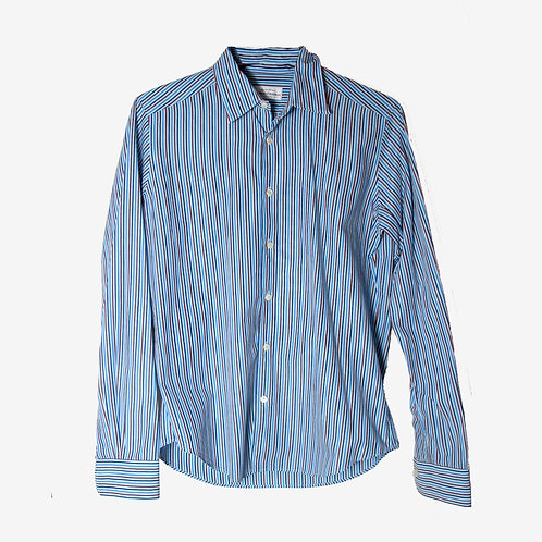 Robert Friedman Striped Blue Cotton Shirt M