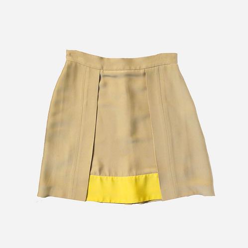 Prada Camel Skirt with Yellow Panel M