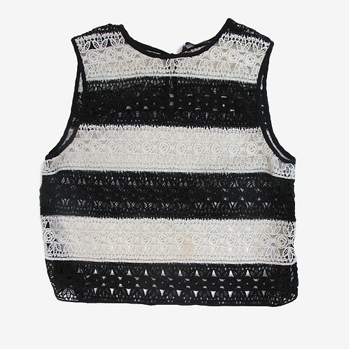 Zara Black and White Embroidered Top S
