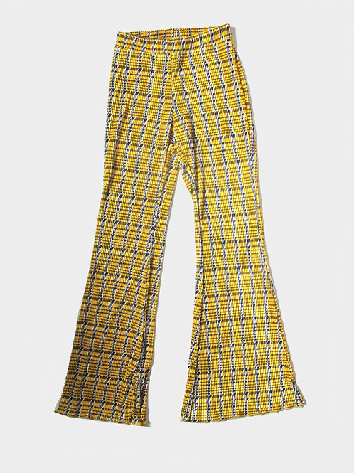 Zara Check Yellow Flare Trousers S