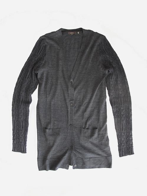 Vera Wang Grey Knit Cardigan M