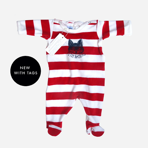 Baby Boys Petit Bateau Striped Baby Grow 3M