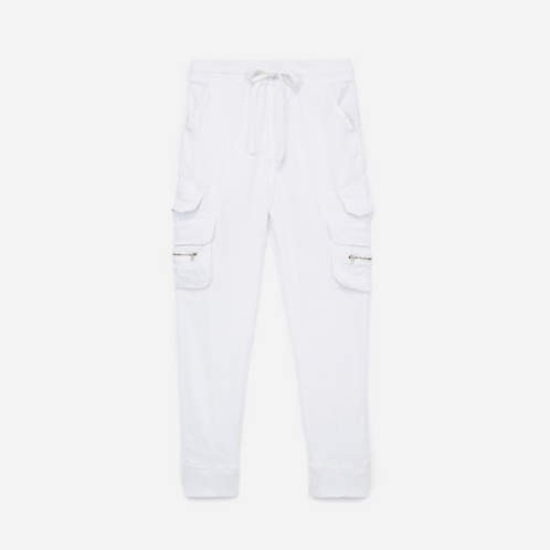 Kooples White Tapered Military-inspired Drawstring Cargo Pants XS