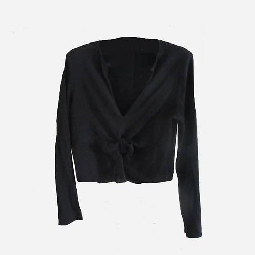 Zara Tie-Front Black Top S