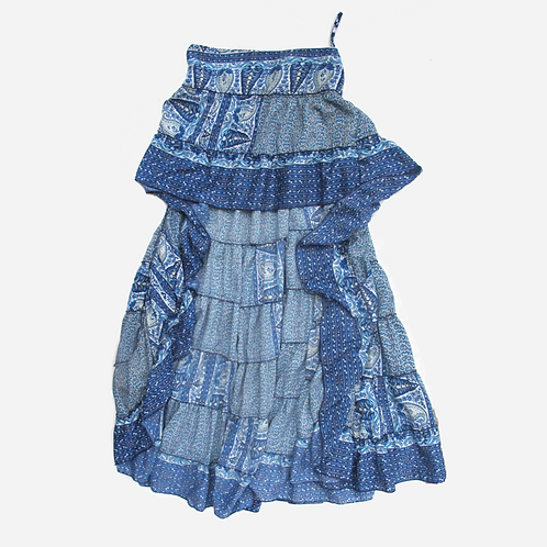 Paisley Blue Tiered Skirt S