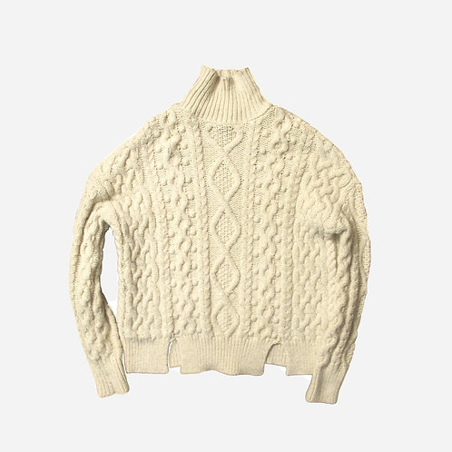 Zara Ecru Oversized Chunky Neck Cable Knit Jumper S