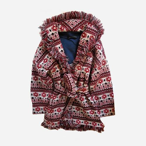Zara Boho Fringe Coat XS