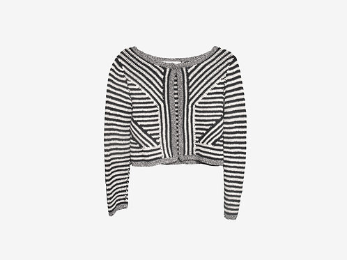 Diane Von Furstenberg Black and White Striped Cardigan S