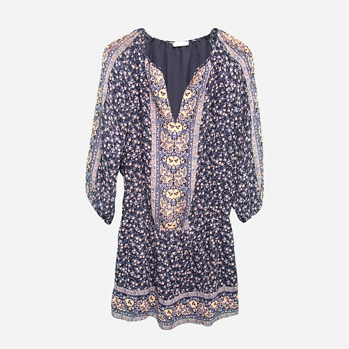 Joie Navy Printed Silk Floral Dress M