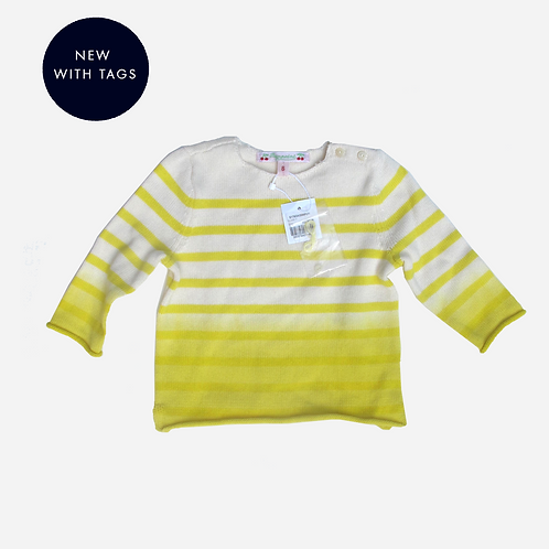 Baby Girls Bonpoint Yellow Striped Pullover 6M