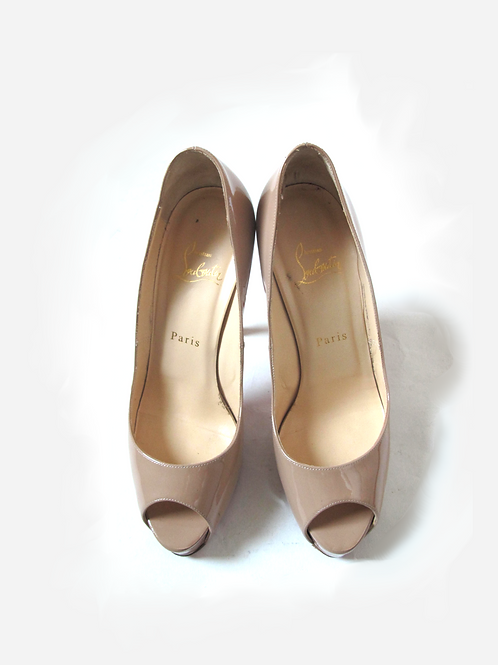 Christian Louboutin Very Prive Nude Patent Heels UK 5.5