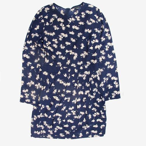 Club Monaco Silk Navy Print Dress S/M