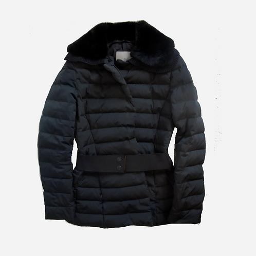 Moncler Black Down Coat with Fur Trim S