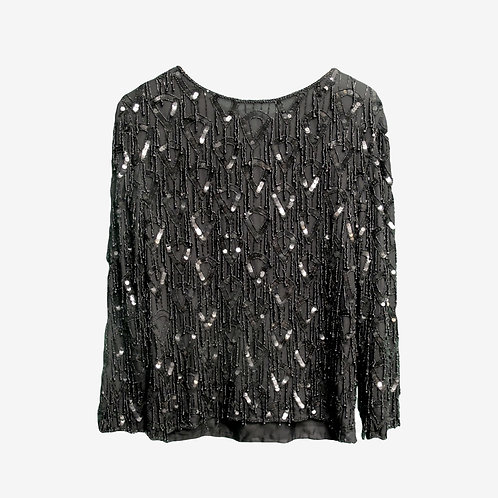 Dusk Vintage Black Sequined and Beaded Detailed Long-Sleeve Blouse S