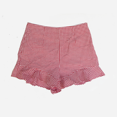 Zara Red Check Shorts S