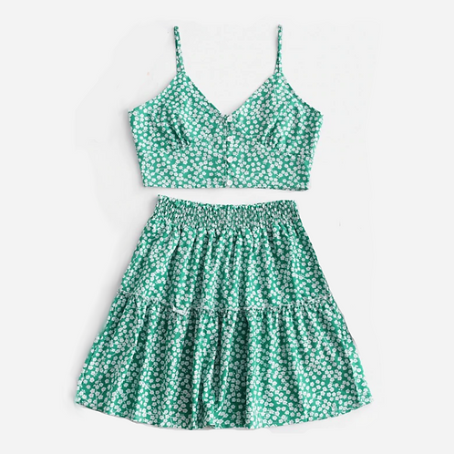 Ditsy Floral Green Floral Co-ord Set S
