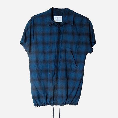 Helmut Lang Blue and Brown Check Drawstring Shirt M
