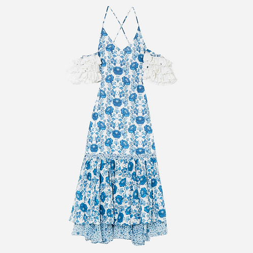 All things Mochi Natalie Blue Floral Dress XS