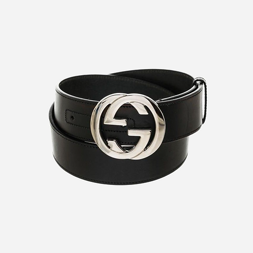 Gucci Silver GG Leather Belt 85-34