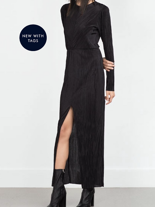 Zara Pleated Black Maxi Dress M