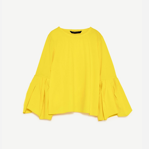 Zara Bright Yellow Poplin Blouse XS