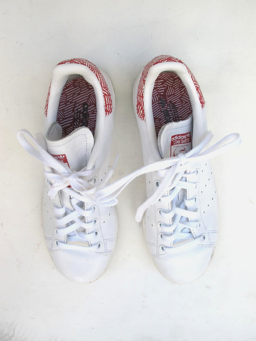 Adidas White & Red Stan Smith Trainers UK 6