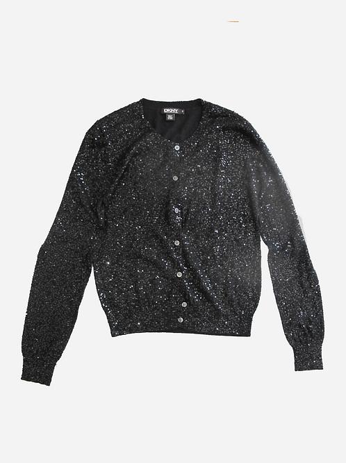 DKNY Sequin Silk & Cashmere Cardigan S