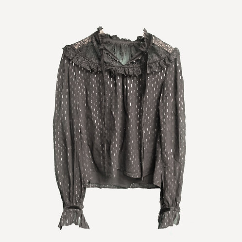 Perseverance London Silk Black Shimmer and Lace Blouse S