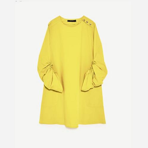 Zara Yellow Poplin Dress XS