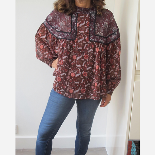Zara Floral and Paisley Blouse M
