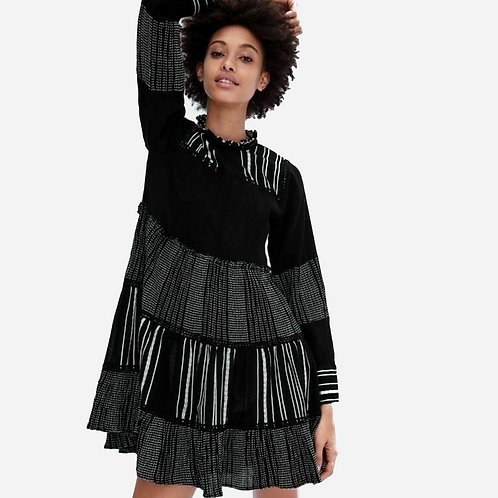 Zara Black and White Tiered Dress