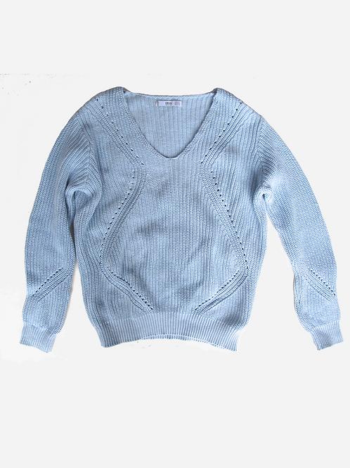 Mango Blue Knit Top S