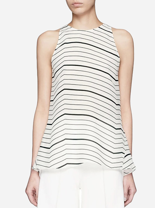 Theory Cream and Black Striped Silk Blouse XS